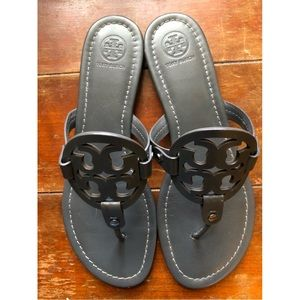 Tory Burch Shoes - Tory Burch Miller Sandals Dark Grey Leather
